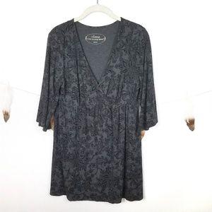 SOMA Kimono Sleeve V Neck Paisley Tunic Top Medium